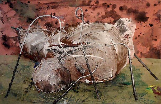 Kokon 2008, Eitempera auf Nessel,40 x 65 cm